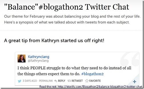 The Blog-Life Balance, #blogathon2 twitter chat Feb 2013