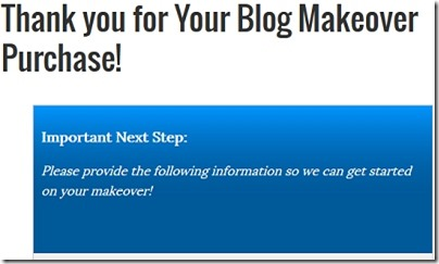 Thank You Page After Purchasing Blogelina Blog Makeover