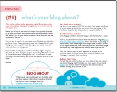 Screenshot of DIY Blog Critique Ebook from MomComm