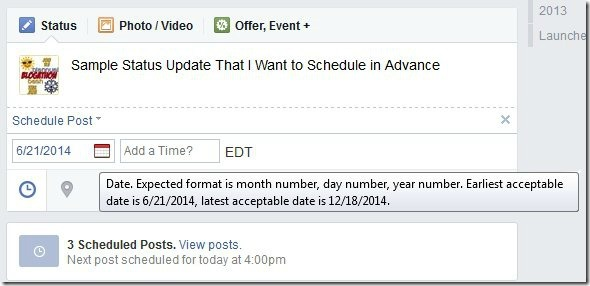Scheduling Facebook Page Posts